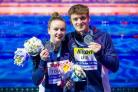 Lois Toulson and Matty Lee on their way to silver in the mixed ten-metre synchro platform at the FINA World Championships in Budapest – Picture: Rogan Thomson/SWpix.com