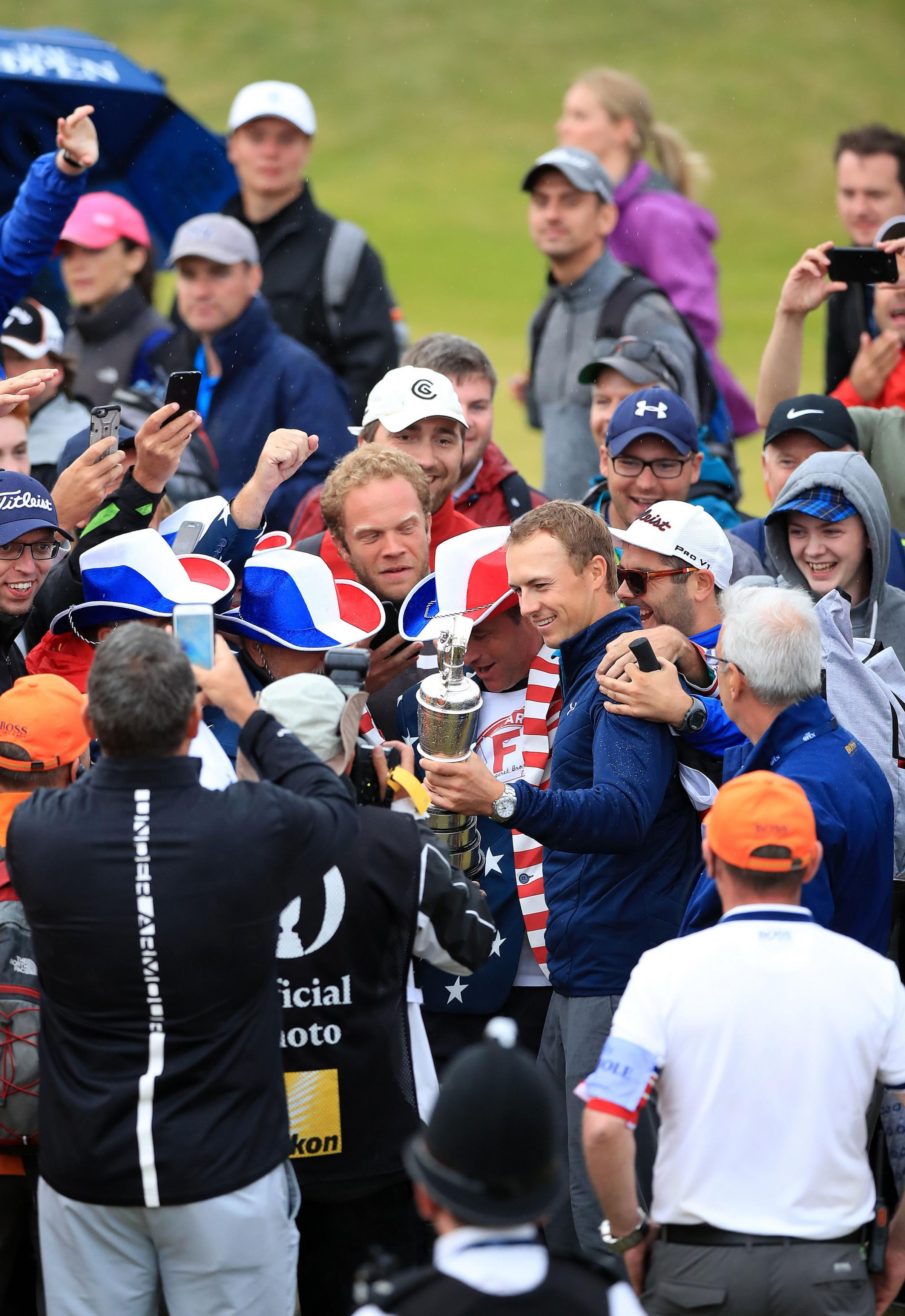 Jordan Spieth celebrates with spectators at Royal Birkdale after winning the Open championship – Picture: Peter Byrne/PA Wire