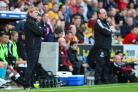 City boss Stuart McCall and Newcastle opposite number Rafa Benitez look on from the Valley Parade touchline – Picture: Thomas Gadd