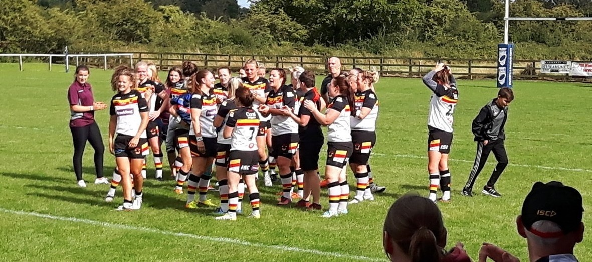 Bradford Bulls celebrate their 50-16 victory over Featherstone Rovers in the Women's RL Challenge Cup final at Heworth ARLFC Picture: Mick Gledhill