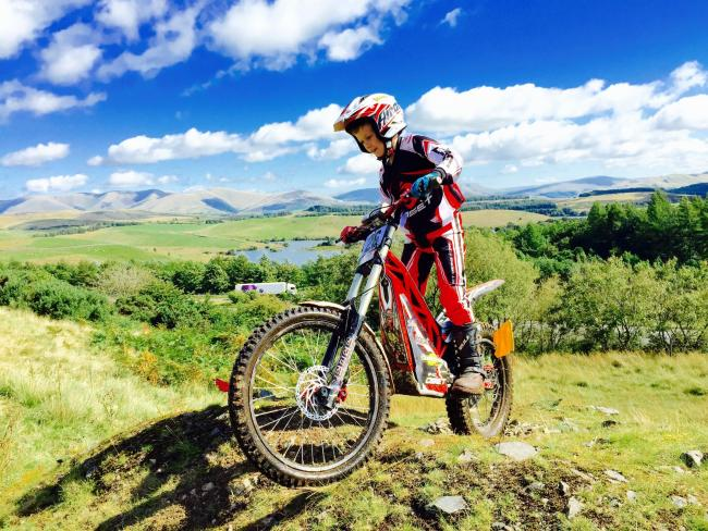 Miles Hutchinson who has became a British youth trials riding champion on his electric bike