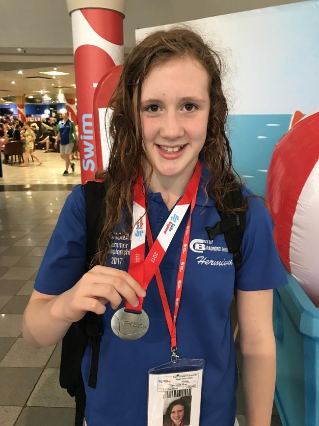 City of Bradford Swimming Club member and Addingham native Hermione Roe achieved two individual victories and one team success for Yorkshire at the Swim England National County Team Championships earlier this month at Ponds Forge, Sheffield