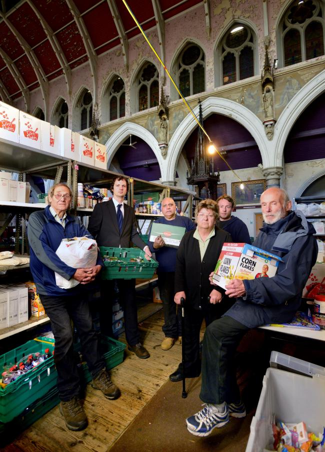Volunteers at Bradford Metropolitan Food Bank, including Frances Atkins, second from right