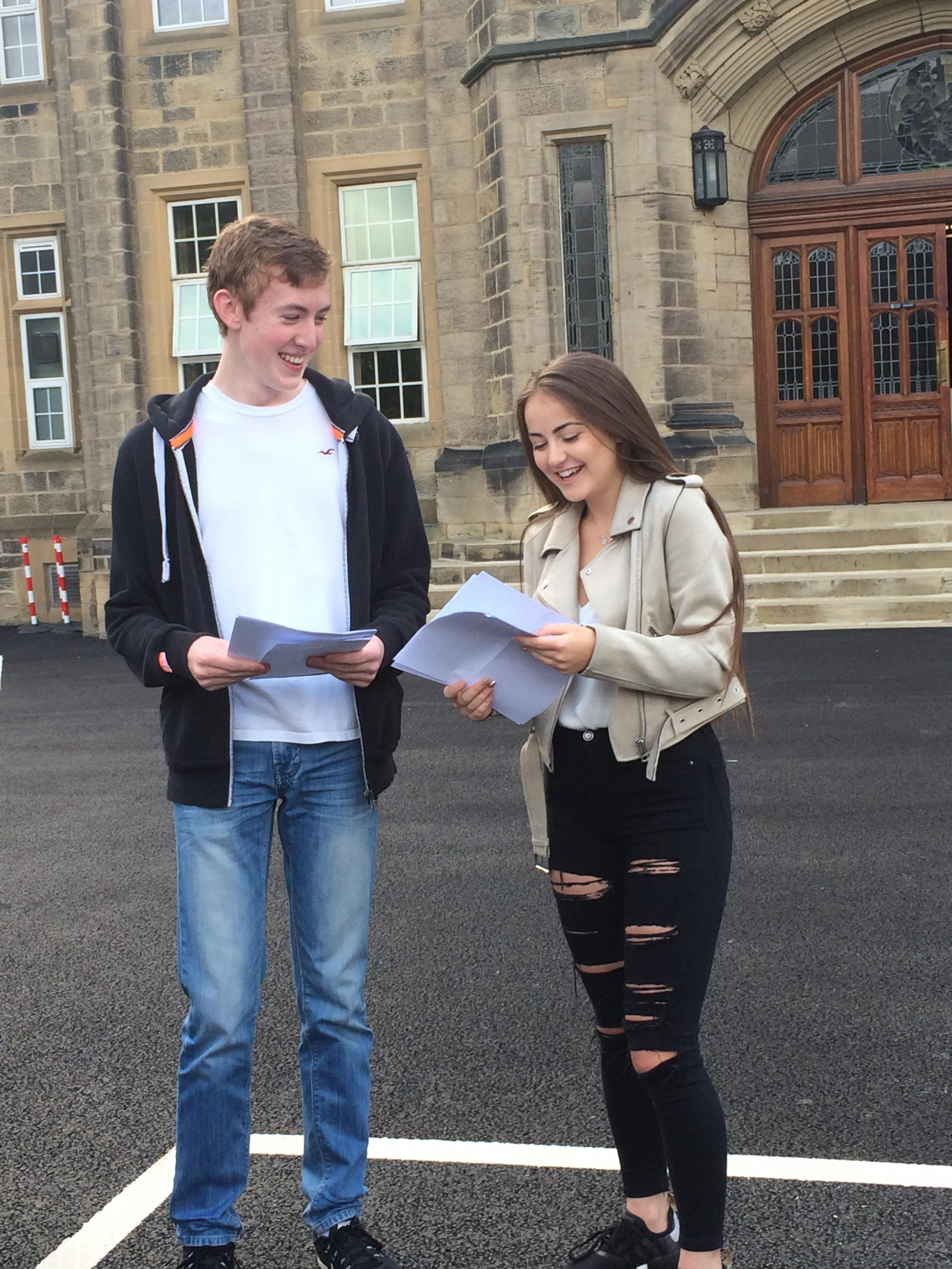 Bradford Grammar pupils Sam Watson and Alecia Hawksworth celebrate their results. Sam got 11 A* and Alecia got 10A*.