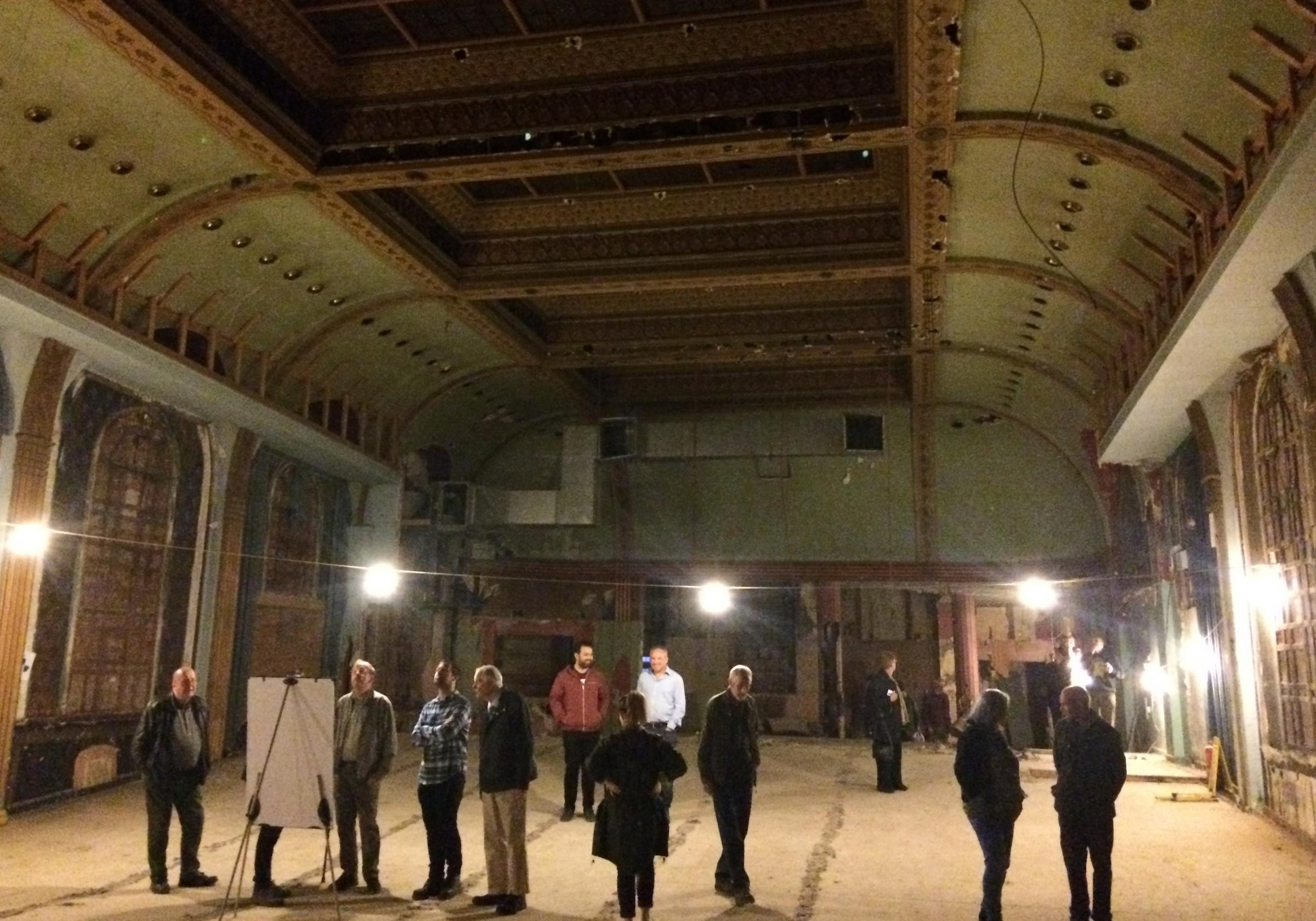 Bradford Telegraph and Argus: Bradford Civic Society members in the ballroom during their guided tour of the site