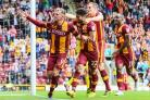 Charlie Wyke celebrates with his City team-mates on the way to scoring a hat-trick which accounted for Bristol Rovers at Valley Parade – Thomas Gadd