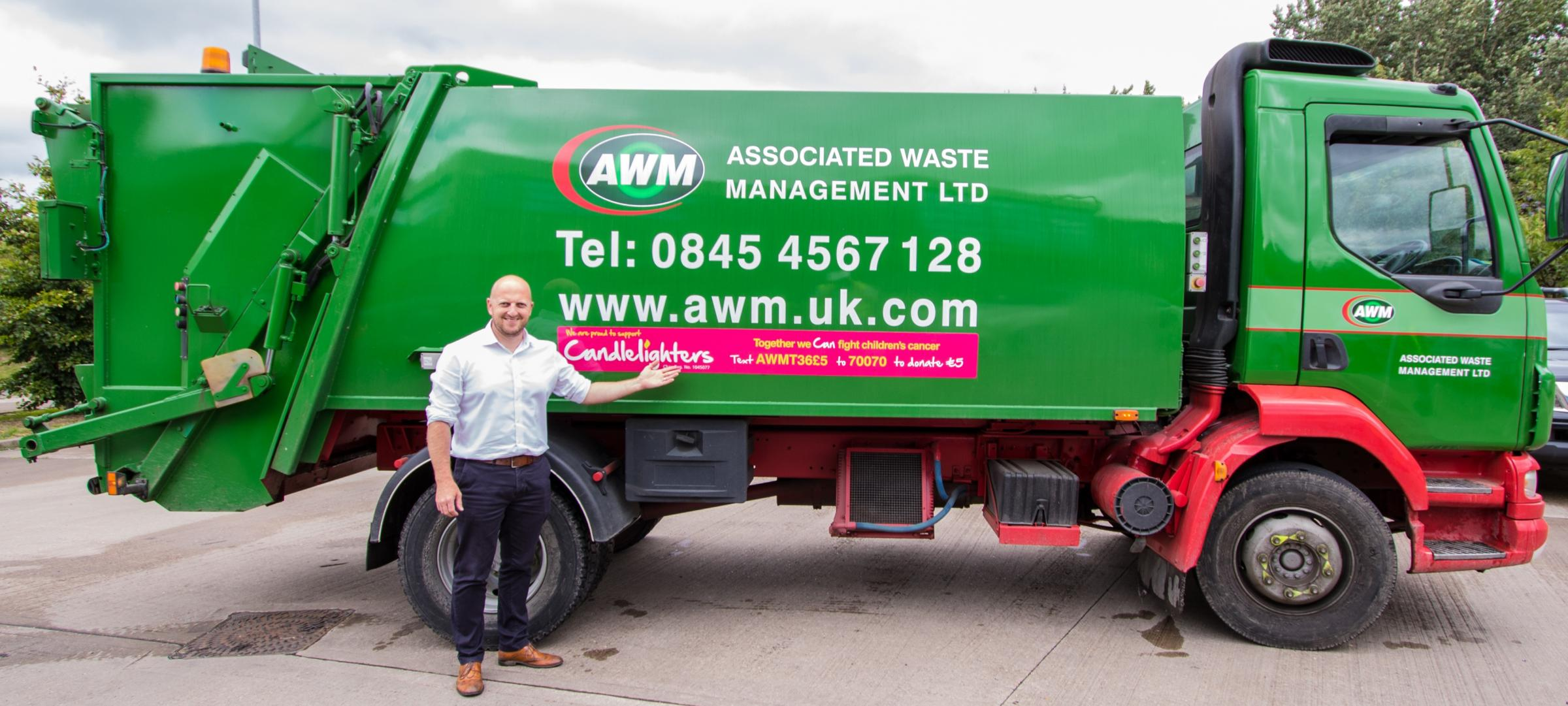 Mike Robinson, Associated Waste Management's group marketing manager, which is supporting the Candlelighters charity on its vehicles