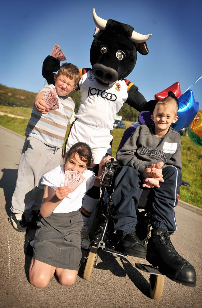 Clockwise from top left, Louis Garside with Bulls' mascot Bull Boy, Ryan Jackson and Eleanor Haigh-Johnson