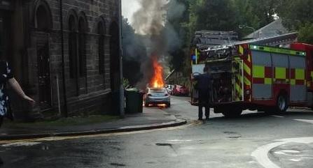 The scene of the car in Oakworth. Picture: Darren Overend