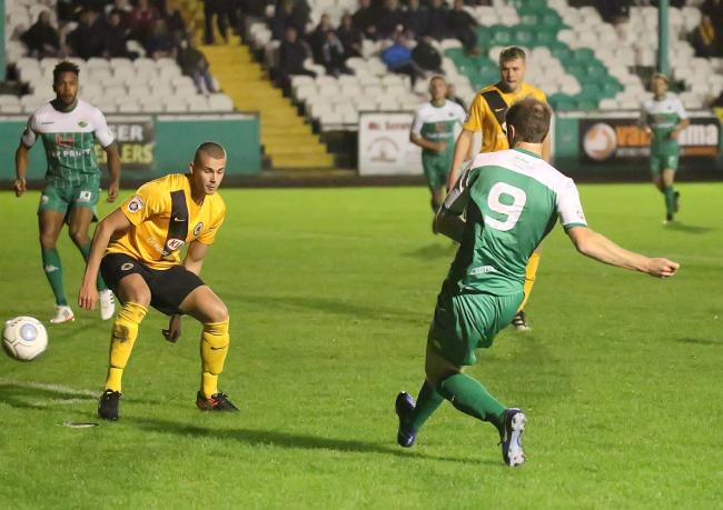 Adam Boyes nets the winner for Avenue after latching on to Graham Kelly's through ball Picture: Alex Daniel Photography