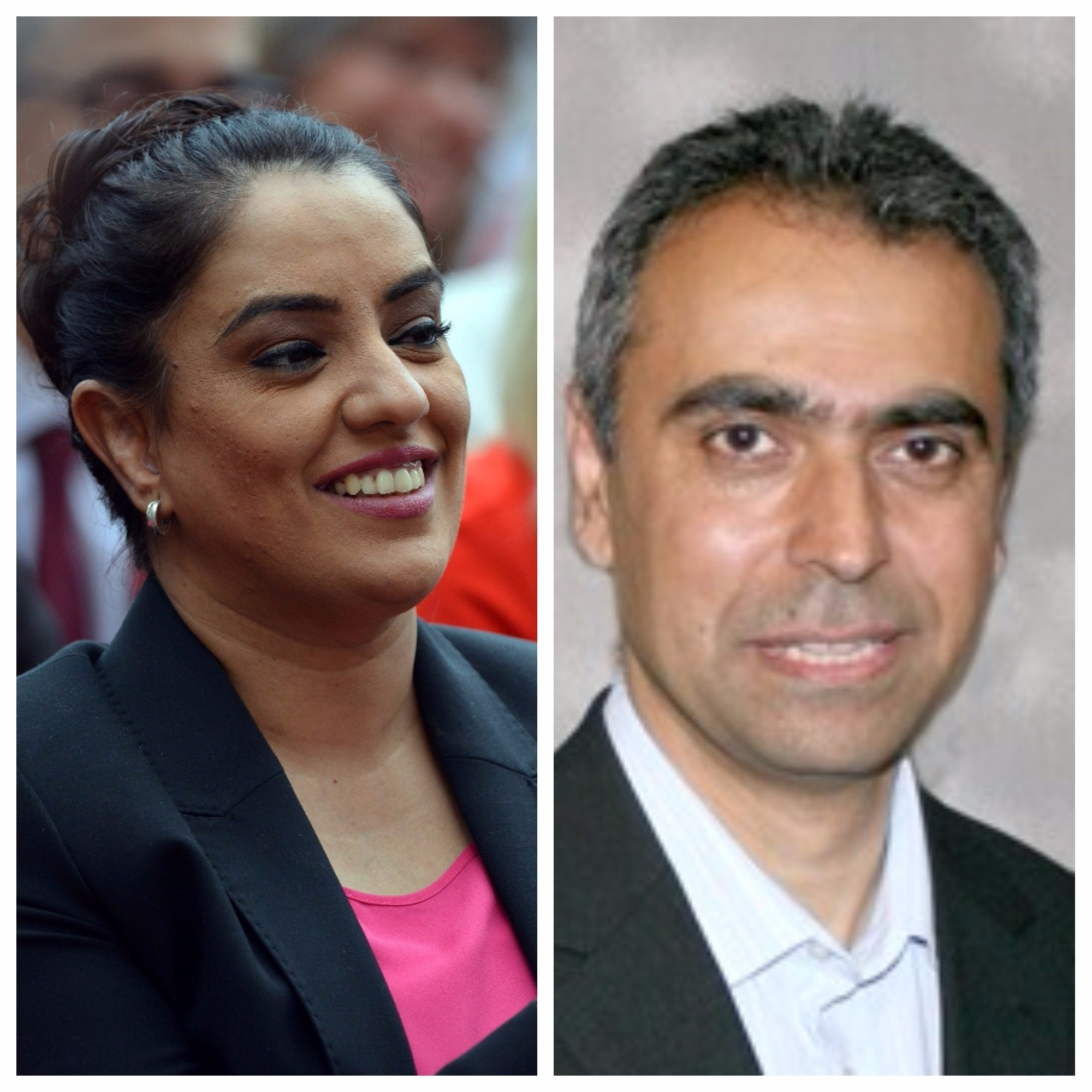 Faisal Khan, right, is one of three members to be expelled by Labour for backing a rival of Naz Shah, left, its candidate in Bradford West in the 2017 General Election