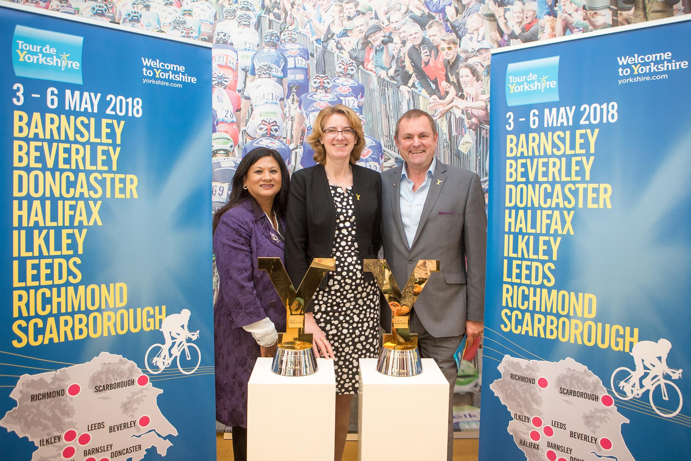 Zuby Hamard, Bradford Council's sports & physical activity manager, and council leader Susan Hinchcliffe with Welcome To Yorkshire's Sir Gary Verity.