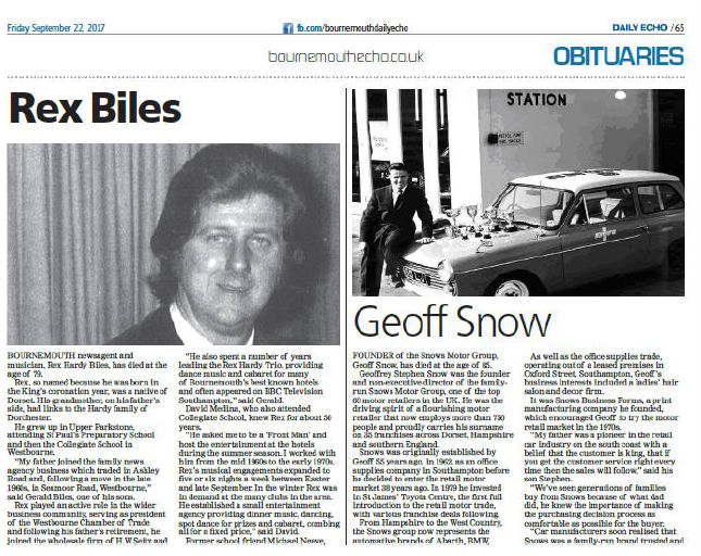 How our sister paper The Bournemouth Echo presents its obituary feature