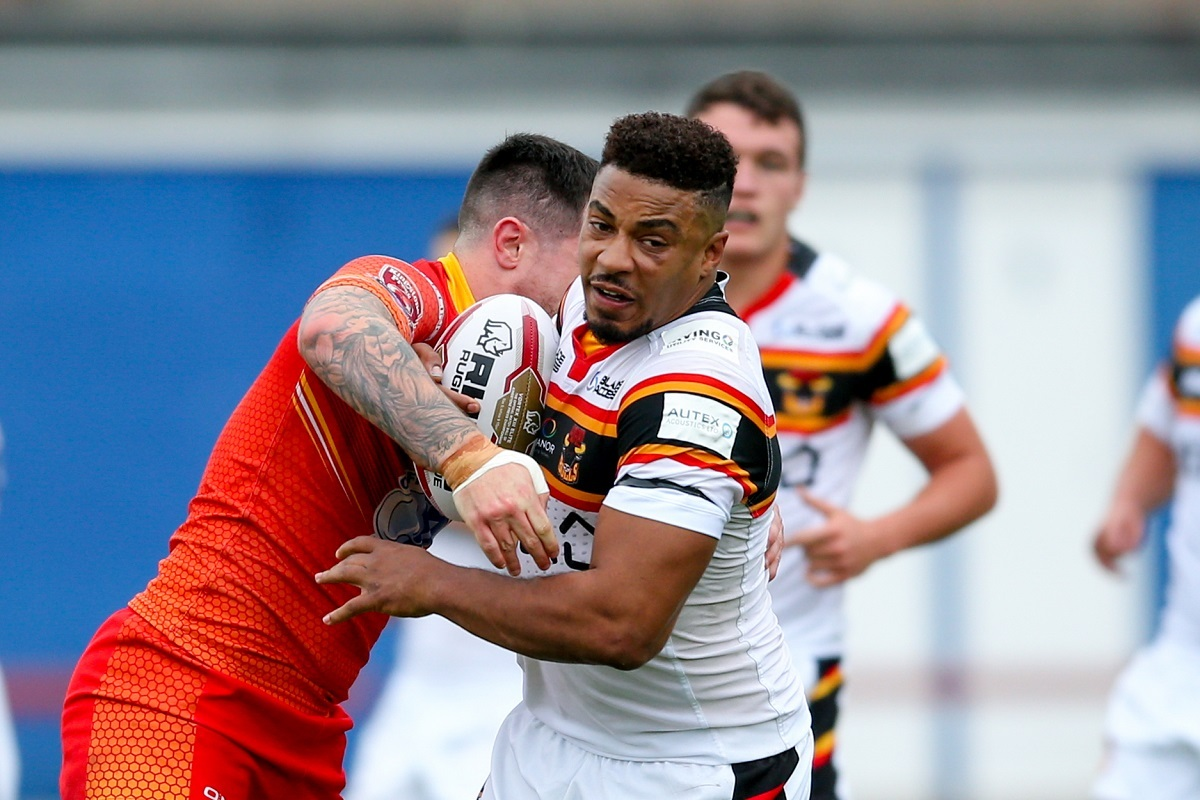 Bradford Bulls prop Jon Magrin (15) in action  during the Kingstone Press Championship match between Sheffield Eagles and Bradford Bulls at, The Beaumont Legal Stadium, Wakefield, United Kingdom on 3 September 2017. Photo by Simon Davies..