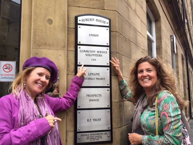 Joanne Crowther and Simone Stammbach outside the former offices of the CSV in Upper Piccadilly, Bradford, where they met through their involvement in the voluntary organisation 30 years ago.