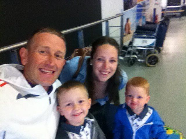 Darren Cresser with his wife Emma and sons Lenny and Dougie