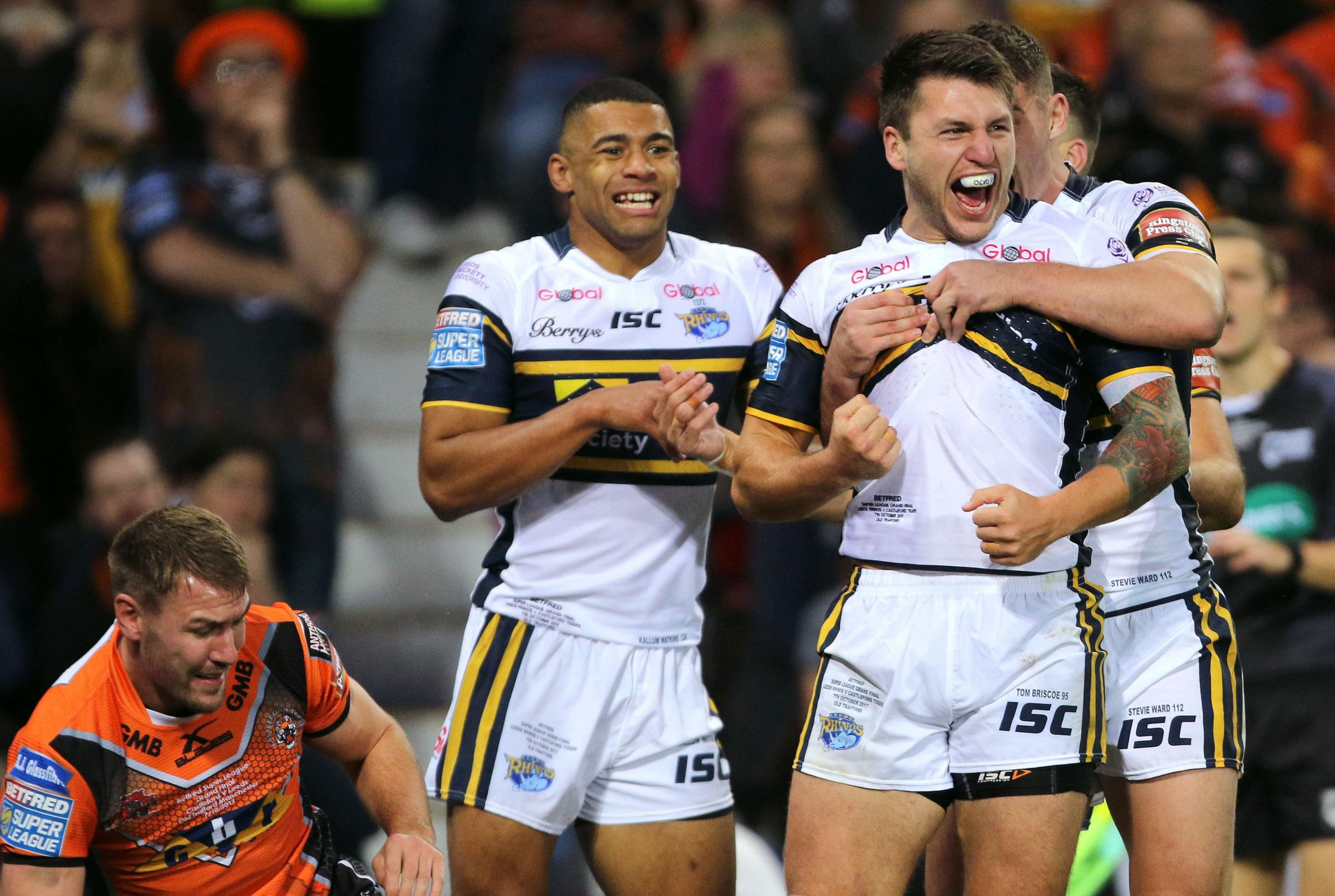 Leeds Rhinos' Tom Briscoe, pictured here celebrating a try against Castleford, was also on the mark against Hull KR