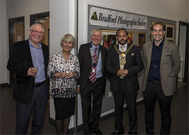 EXHIBITION: Left to right Tom Heggie, Past President, Mrs Heggie, Alan Stopher, President of the Yorkshire Photographic Union, The Lord Mayor of Bradford, Cllr Abid Hussain and Michael Terwin, Head of Collections/Exhibitions National Science Medium Museum