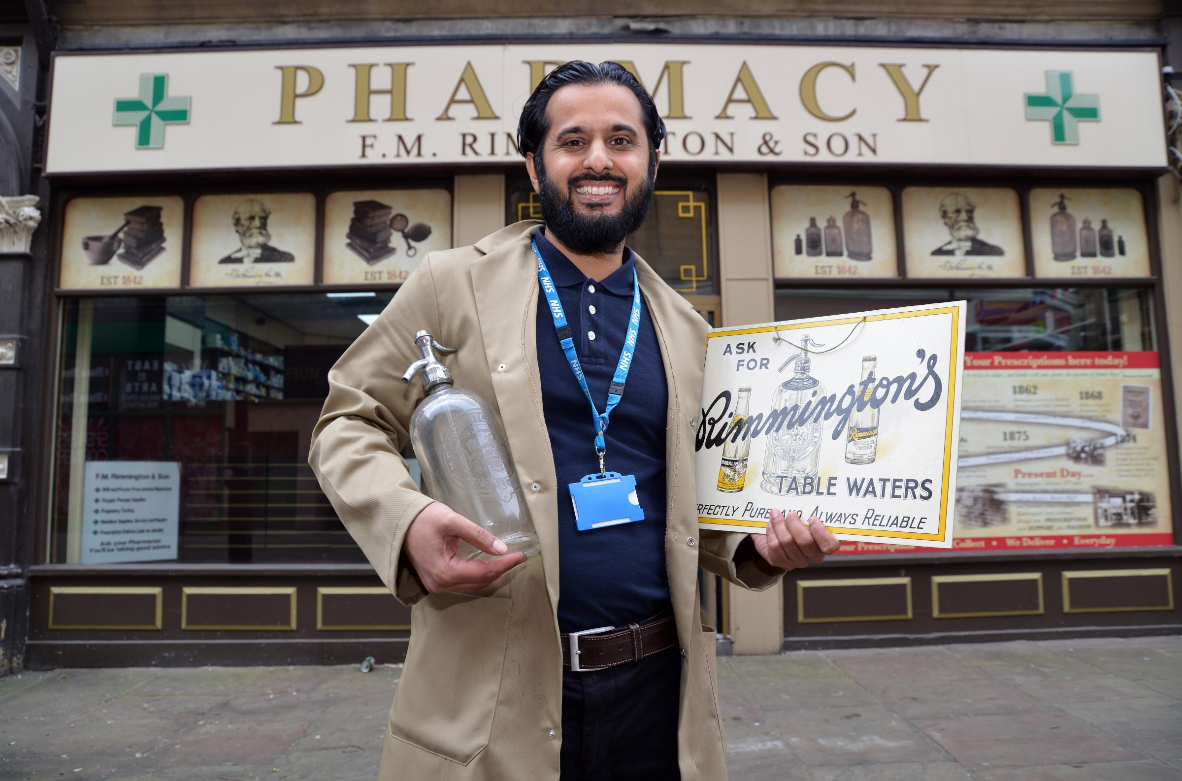 Sajid Hussain from Rimmingtons Pharmacy which is celebrating it's 175th birthday.