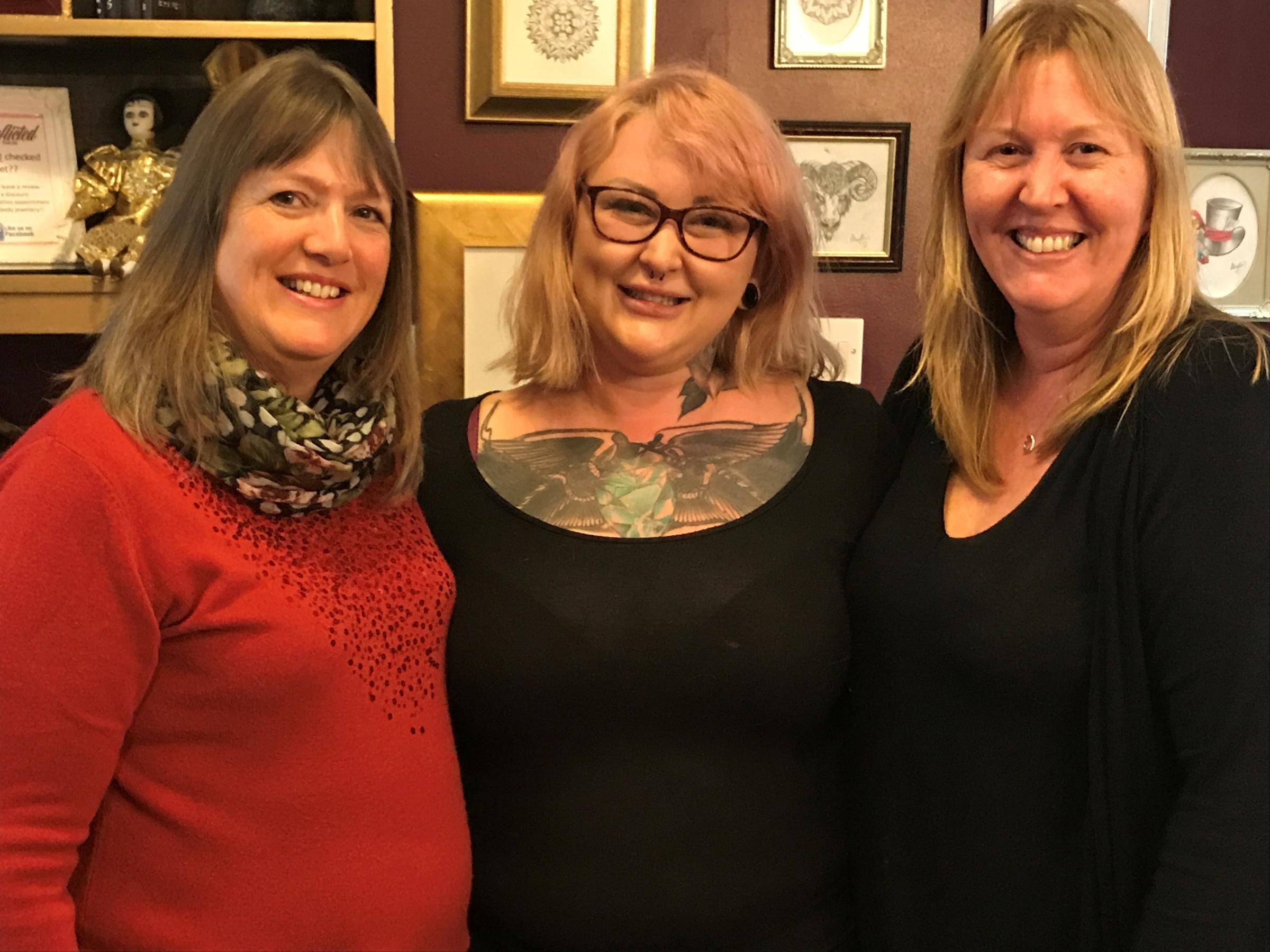 Tattooist, Lucy Thompson, with her Auntie Pam (left) and her mum Jen