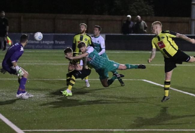 Goalmouth action from Avenue's draw at Harrogate – Picture: John Rhodes