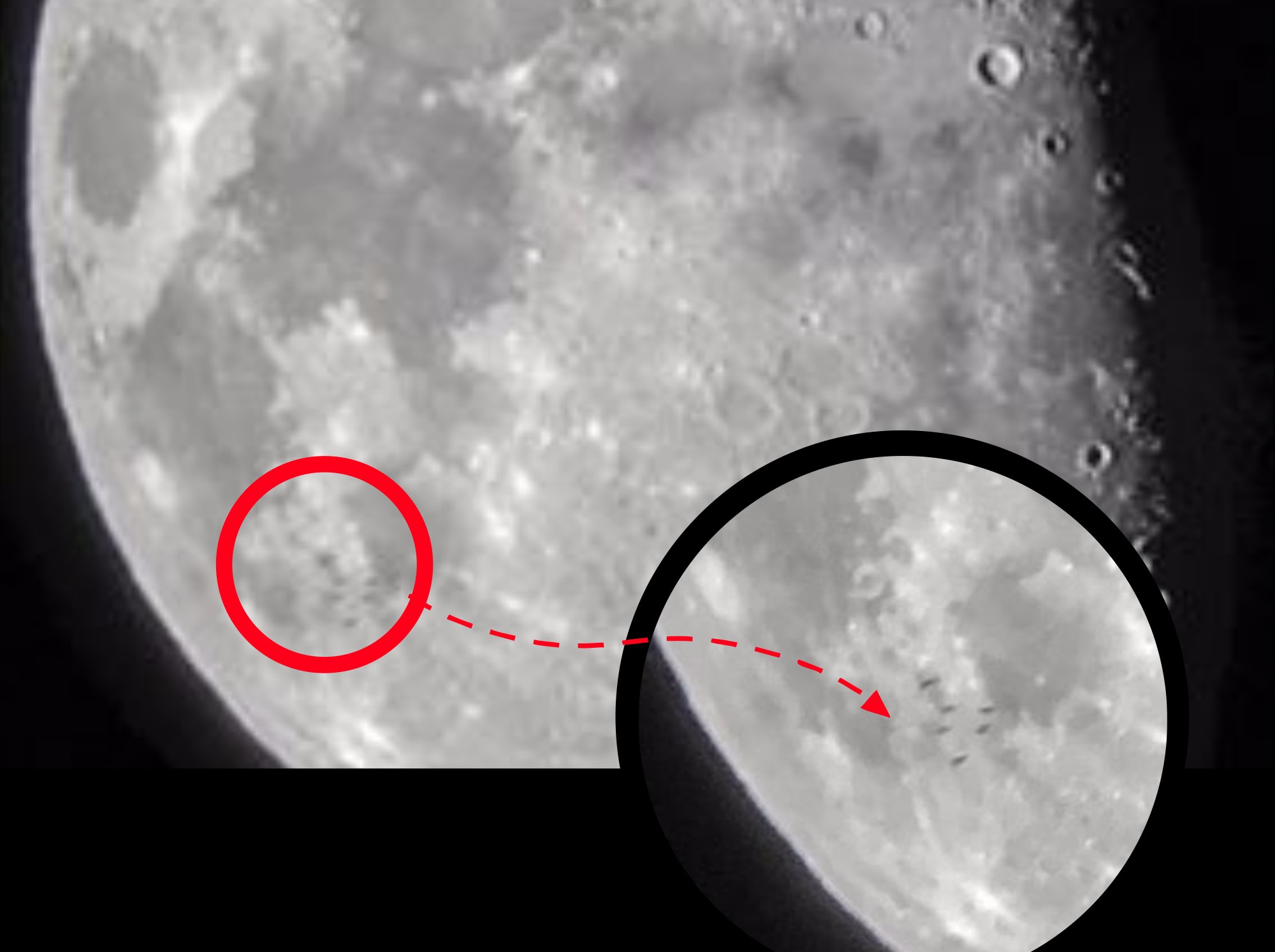 What are these strange objects flying in front of the moon?