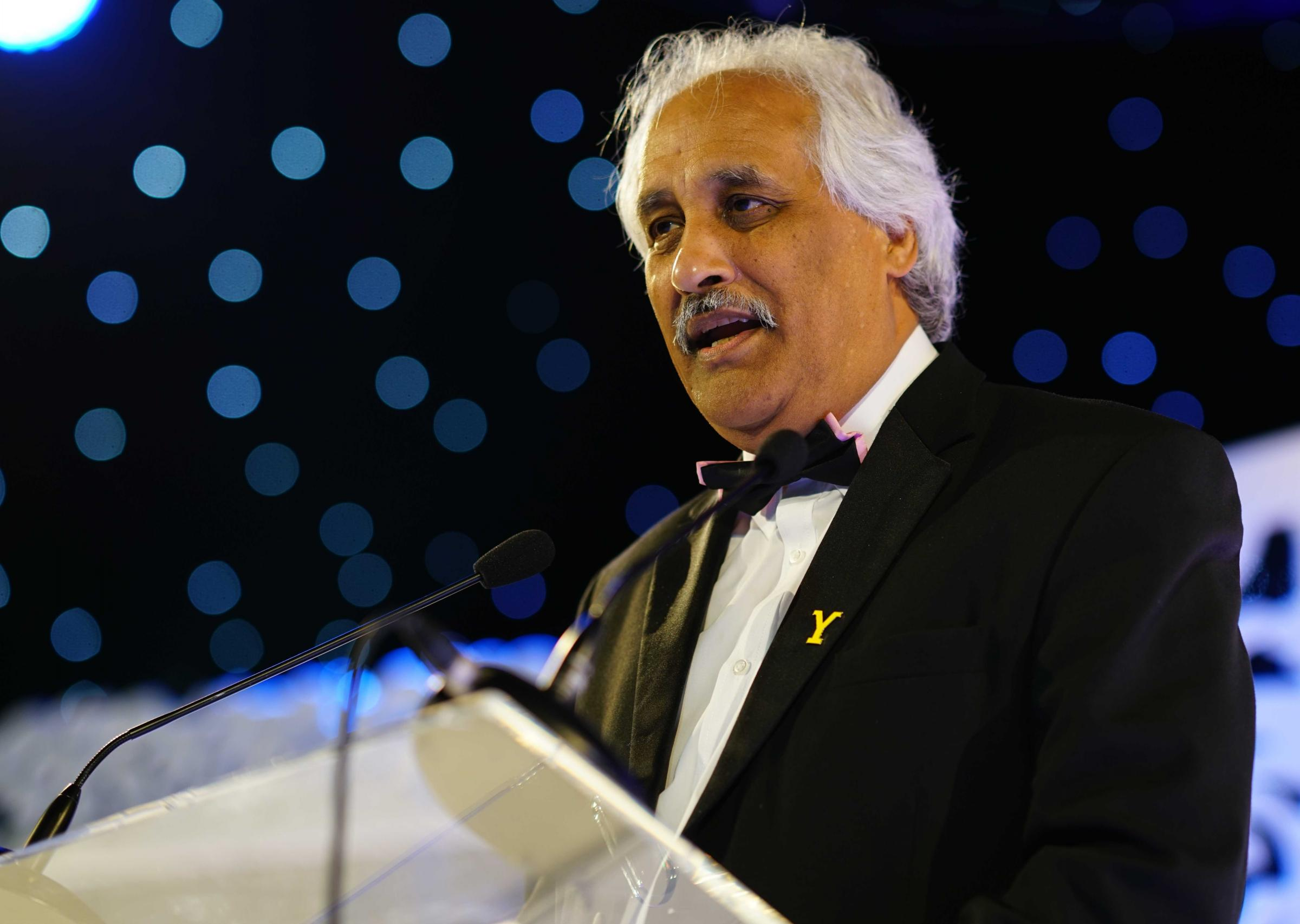 Aagrah managing director Mohammed Aslam speaks at his firm's annual dinner