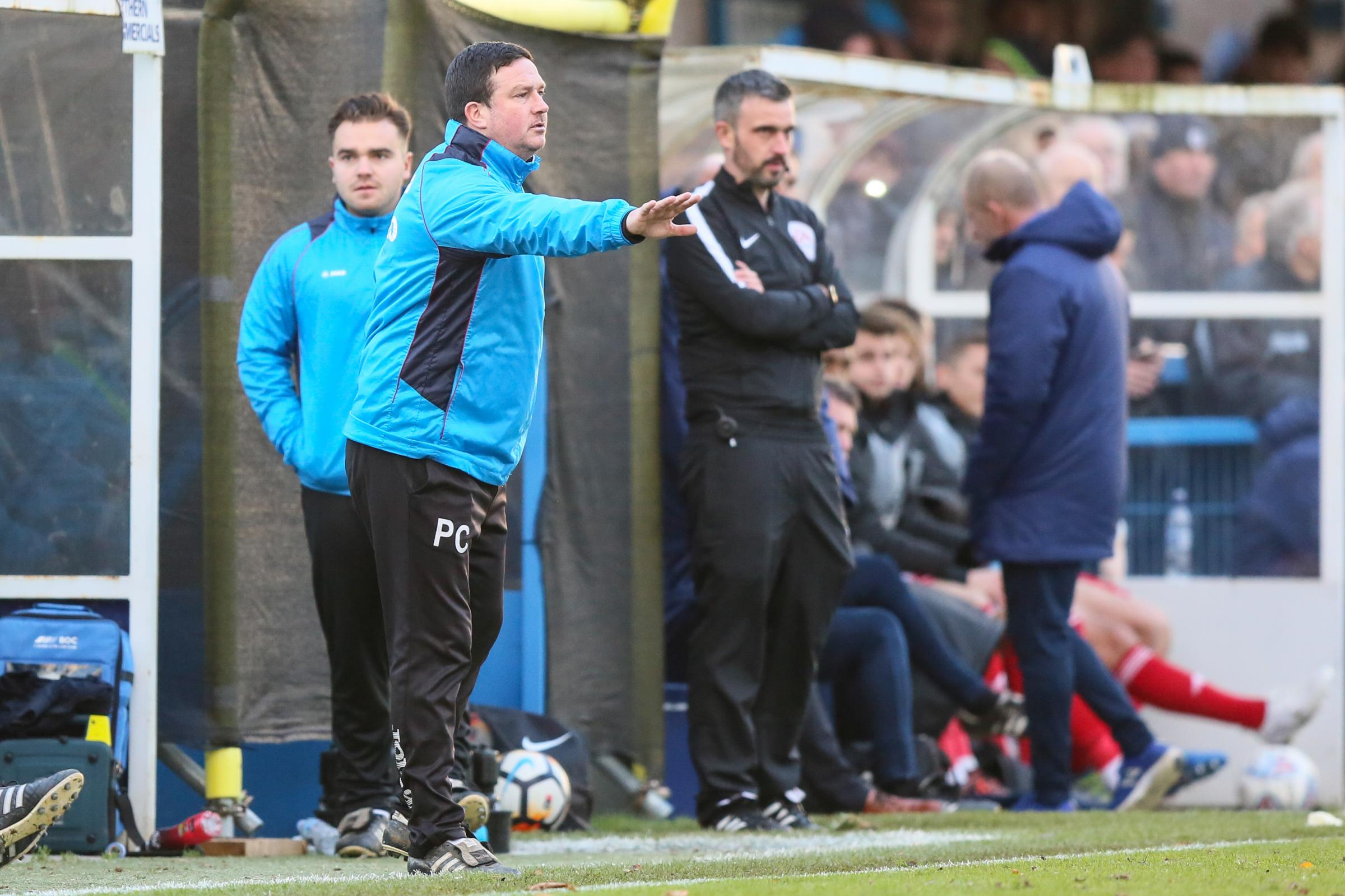 Manager Paul Cox, seen making a point during Sunday's FA Cup tie against Accrington Stanley, takes his Guiseley side to Garforth Town tonight in the West Riding County Cup Picture: Thomas Gadd