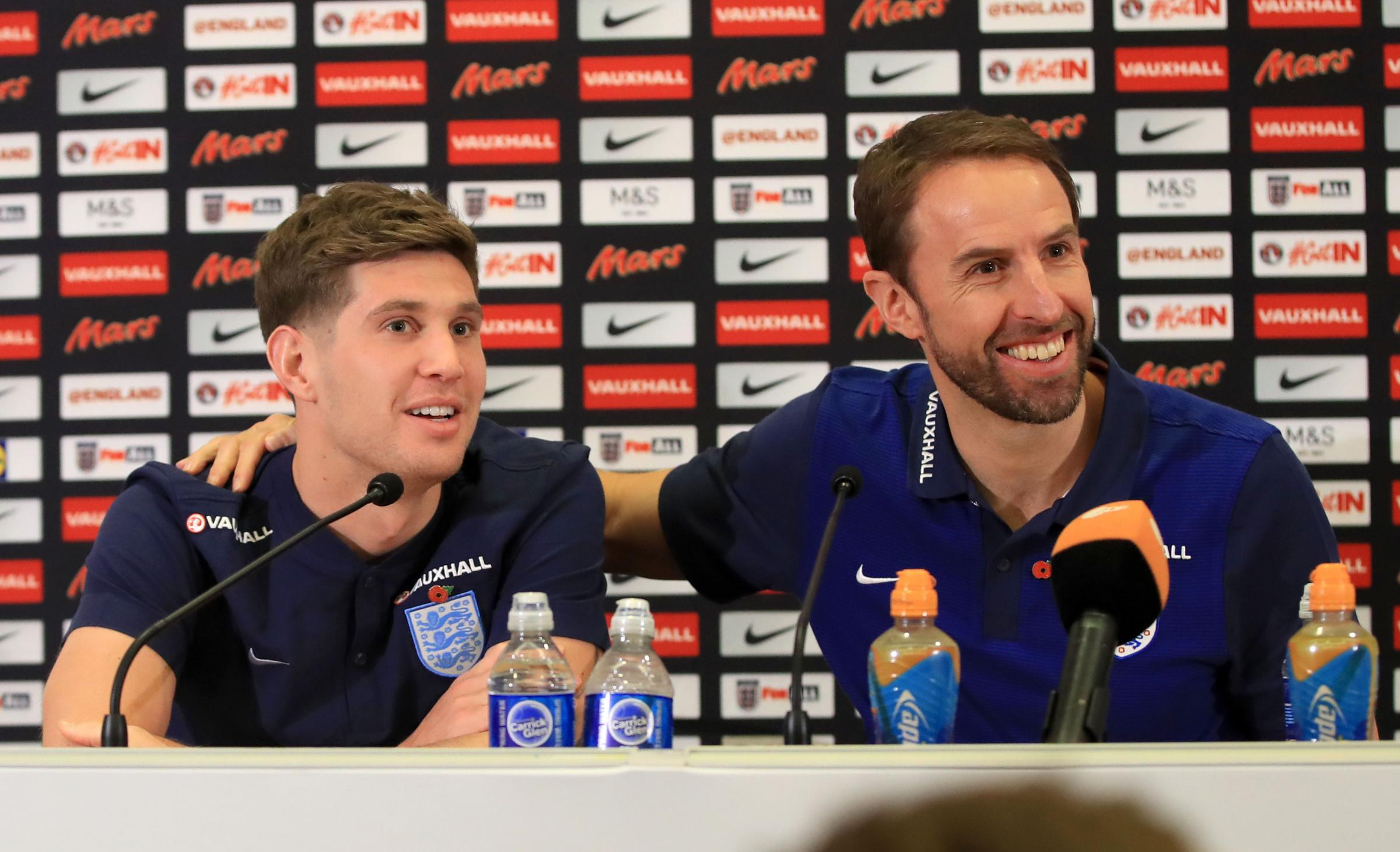England manager Gareth Southgate with John Stones during a press conference ahead of England's two upcoming friendlies – Picture: Mike Egerton/PA Wire