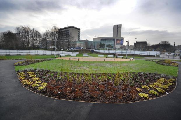 Bradford Telegraph and Argus: A temporary garden is in place on the site