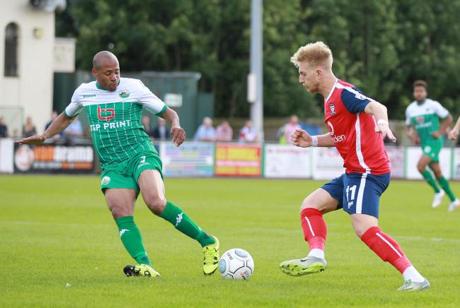 SEEING RED: Bradford Park Avenue left-back Matt Hill, left, was the first of two first-half dismissals as Avenue were beaten 4-0 at FC United of Manchester       Picture: Gordon Clayton
