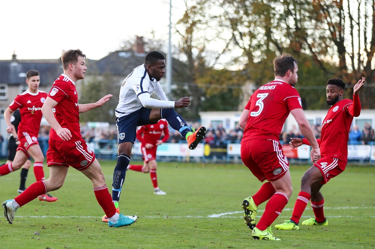 SO CLOSE: Guiseley striker Mike Fondop lets fly in the first game against Accrington – Picture: Thomas Gadd