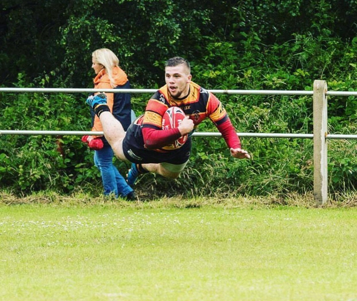 Brighouse Rangers centre Jordan Sild dives in to score against Upton – Picture: Brighouse Rangers