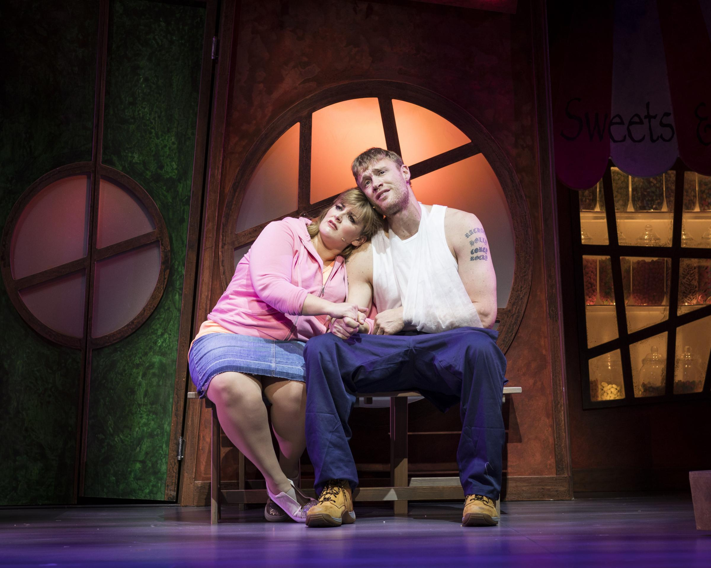 "Jodie Prenger and Andrew ""Freddie"" Flintoff in Fat Friends the Musical"