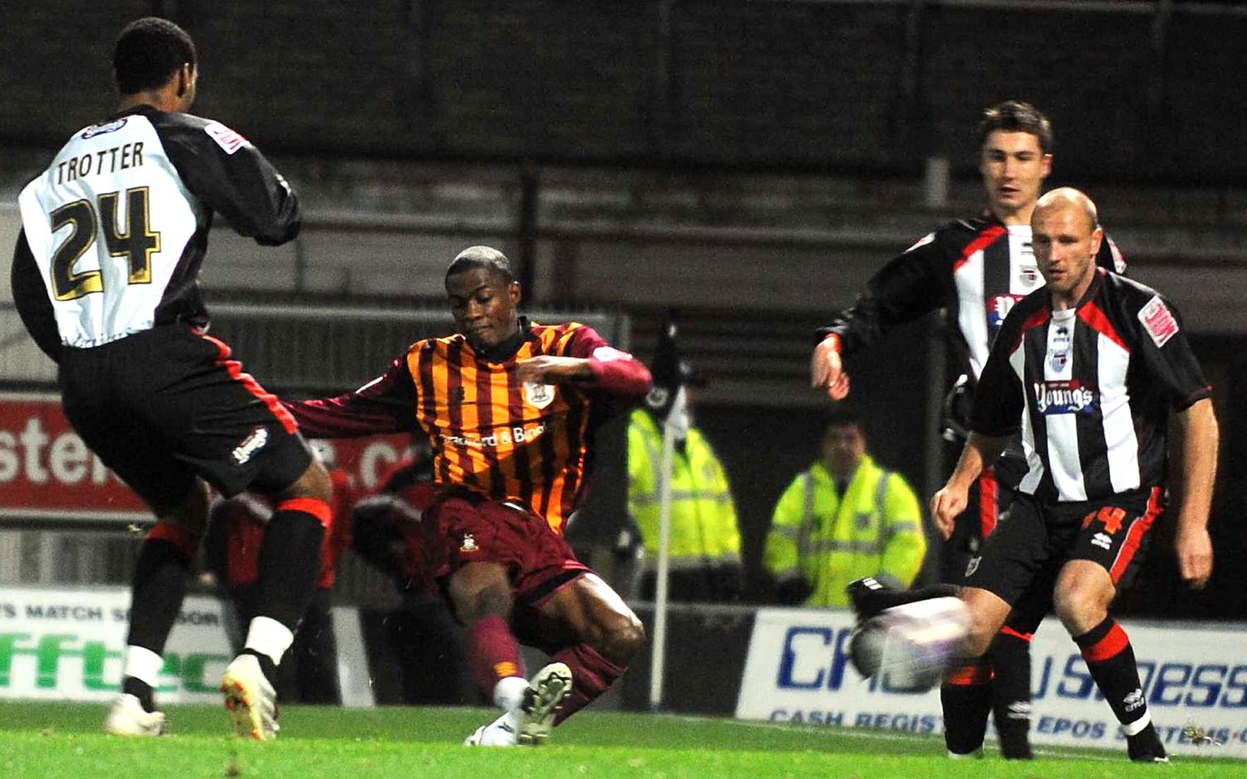 Omar Daley, pictured scoring against Grimsby, is enjoying life on the left wing