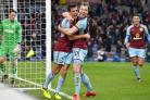 Burnley's Jack Cork celebrates scoring his side's first goal of the game during the Premier League match at Turf Moor, Burnley.
