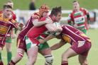 Keighley prop Sam Booker on the charge against Middlesbrough – Picture: Charlie Perry