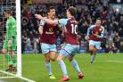 Jack Cork celebrates scoring Burnley's first goal against Swansea – Picture: Anthony Devlin/PA Wire