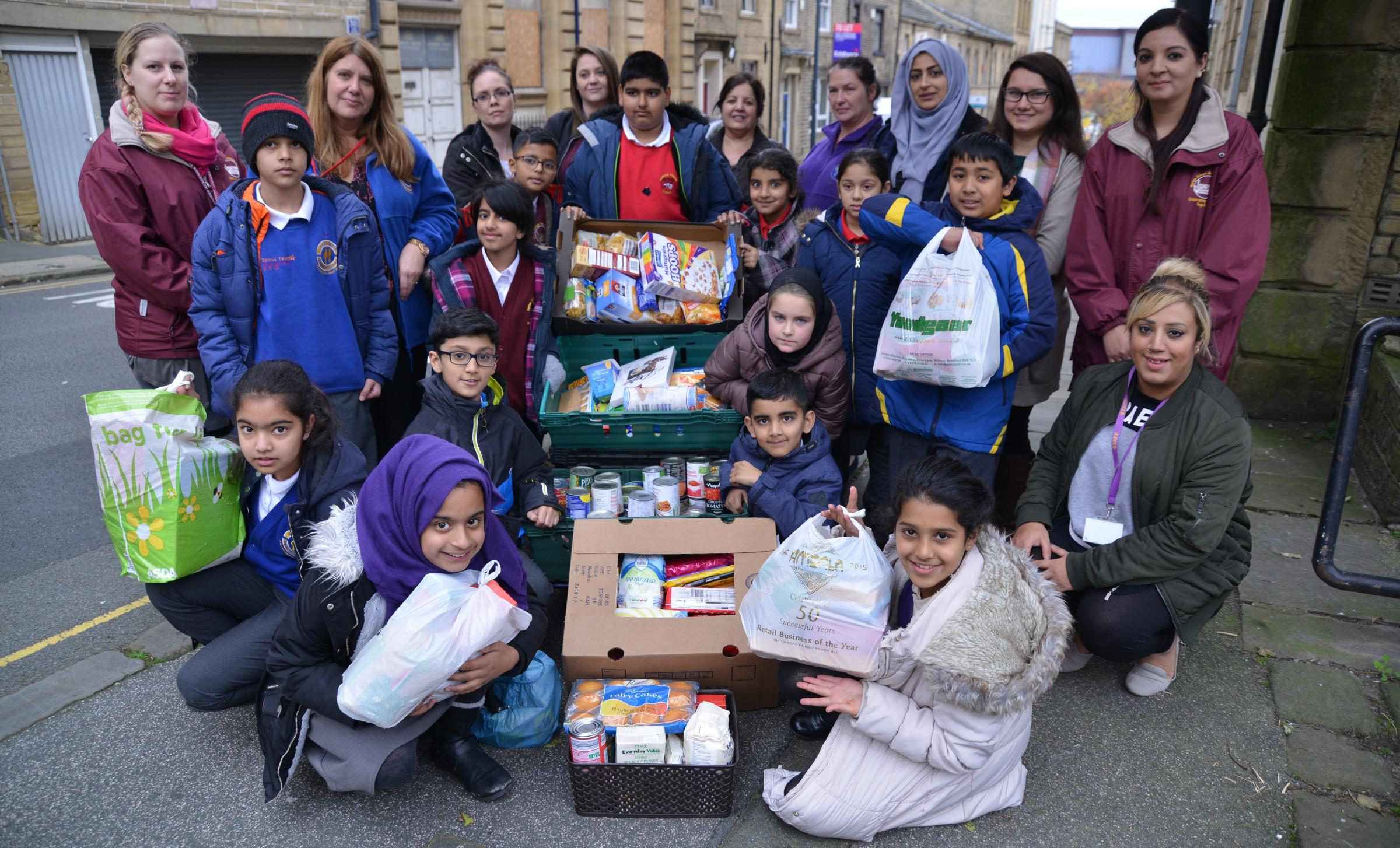 Staff and pupils from Copthorne Primary, Horton Park Primary,  Princeville, Horton Grange, Farnham Primary and Lidget Green visit the Bradford Metropolitan Food Bank