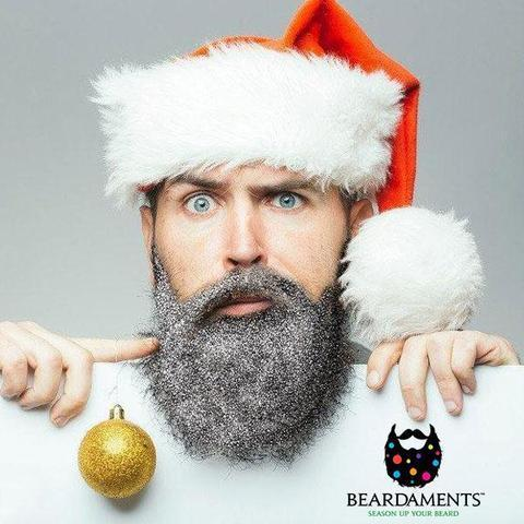 Beardaments selling Christmas decorations for mens beards