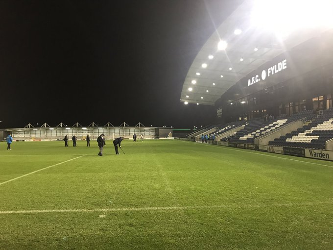 Guiseley's match at AFC Fylde was called off for health and safety reasons due to a waterlogged pitch