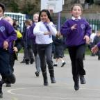 Bradford Telegraph and Argus: Pupils at Clayton Village Primary running the Daily Mile