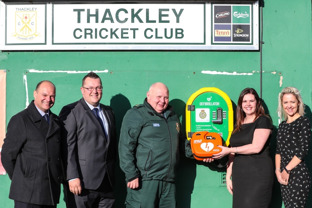 The defibrilator provided by Thackley Primary School