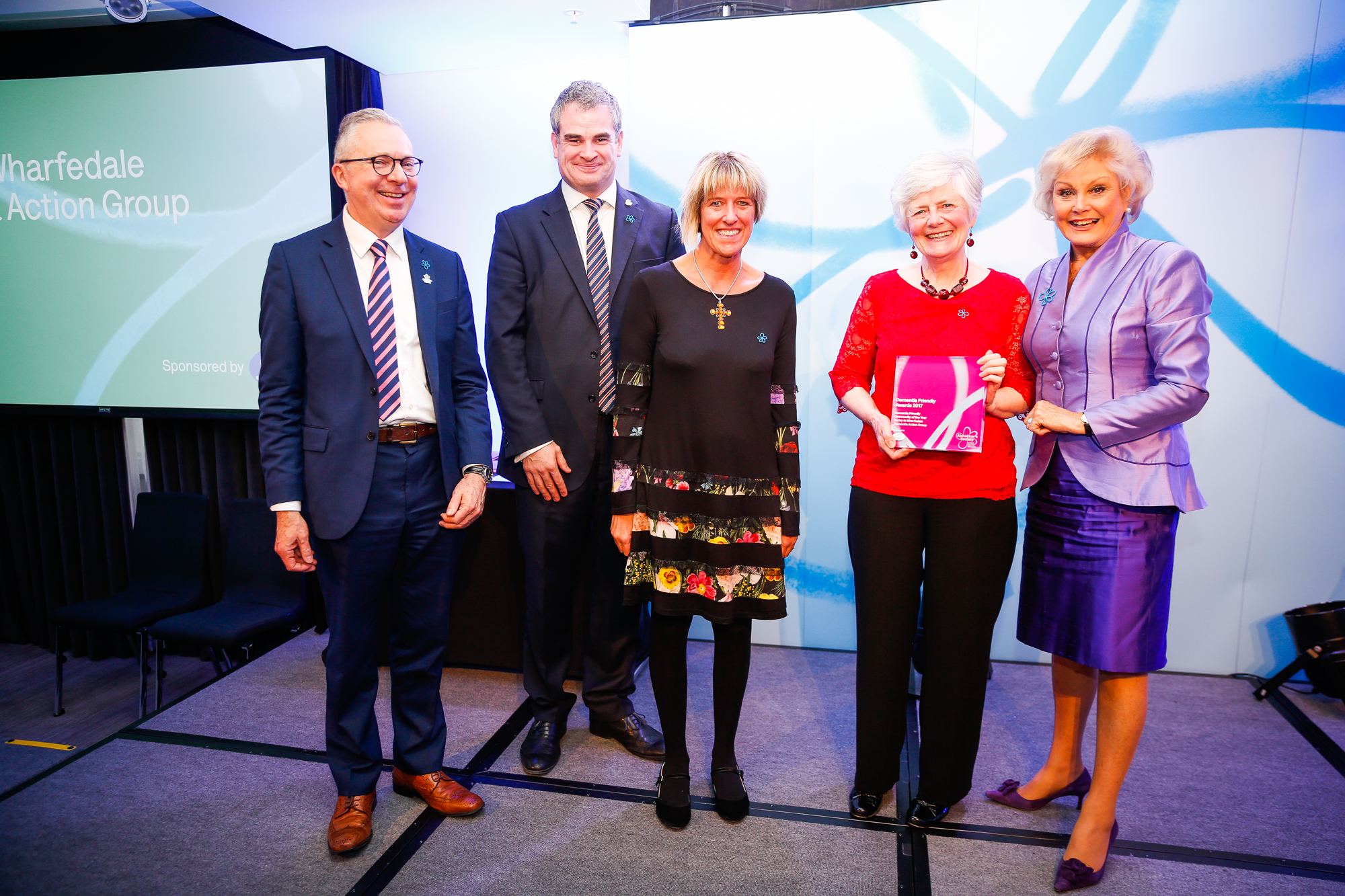 L-R: Jeremy Hughes, Alzheimer's Society CEO, Marc Donovan, Chief Pharmacist, Boots UK, Susan Collins and Sylvia Burgen of Burley Dementia Action Group and Angela Rippon CBE, Alzheimer's Society Ambassador