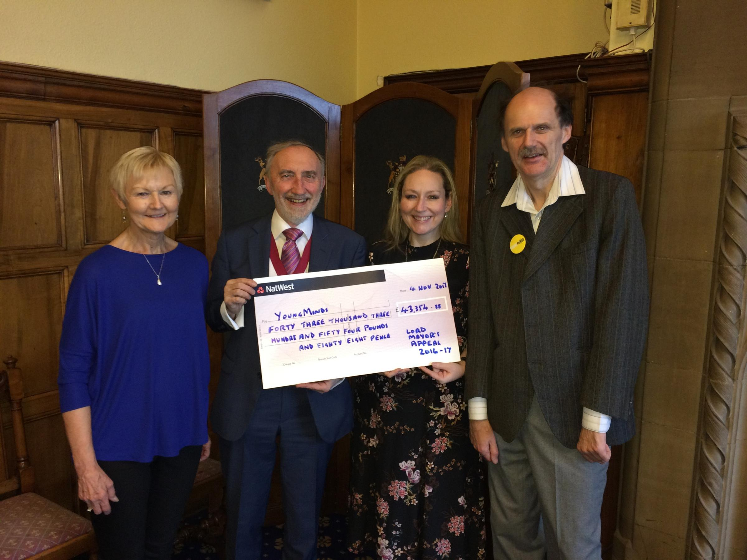 From left, Chris Reid, Cllr Geoff Reid, Jane Case, of YoungMinds, and Lord Mayor's Appeal co-ordinator Howard Middleton