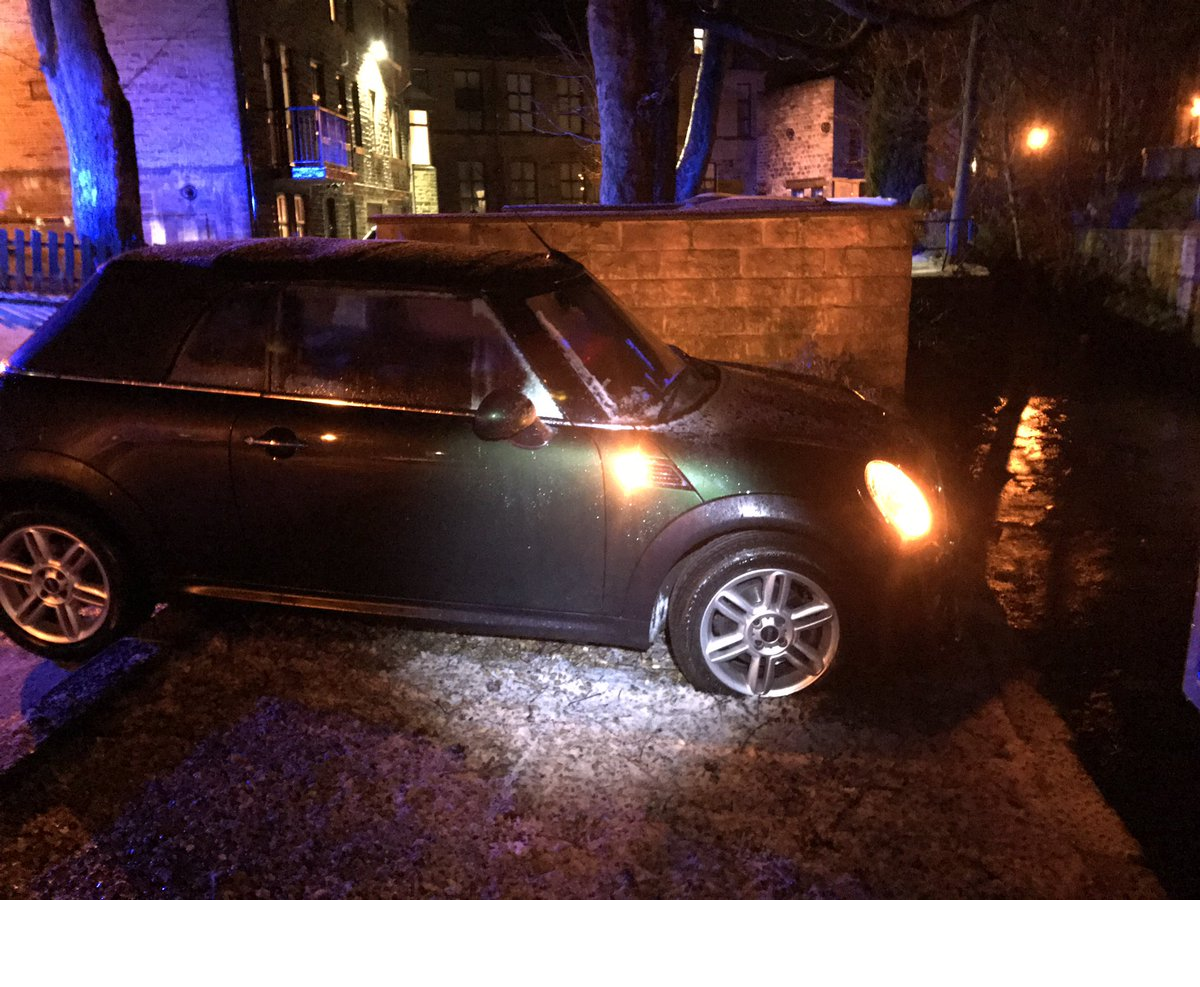 Mini almost ends up in beck after skidding in icy conditions in Oxenhope