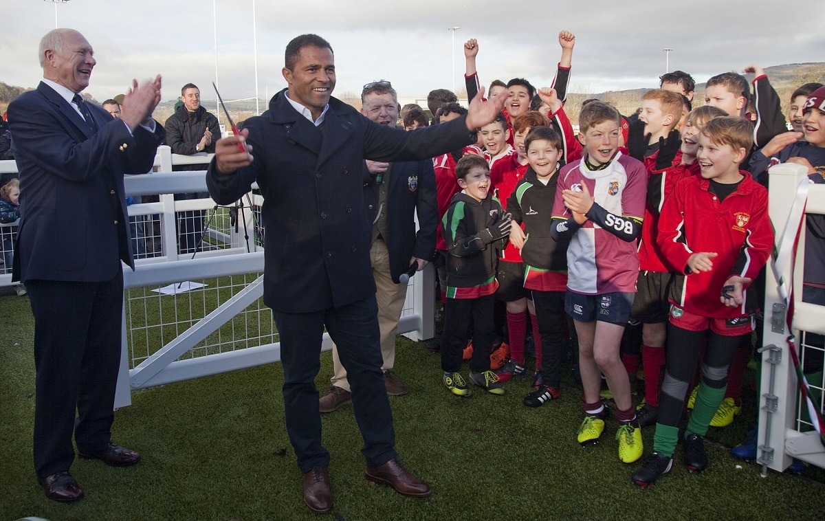 RFU president John Spencer, left, enjoys watching World Cup-winning hero Jason Robinson officially open Keighley's new pitch – Picture: Charlie Perry