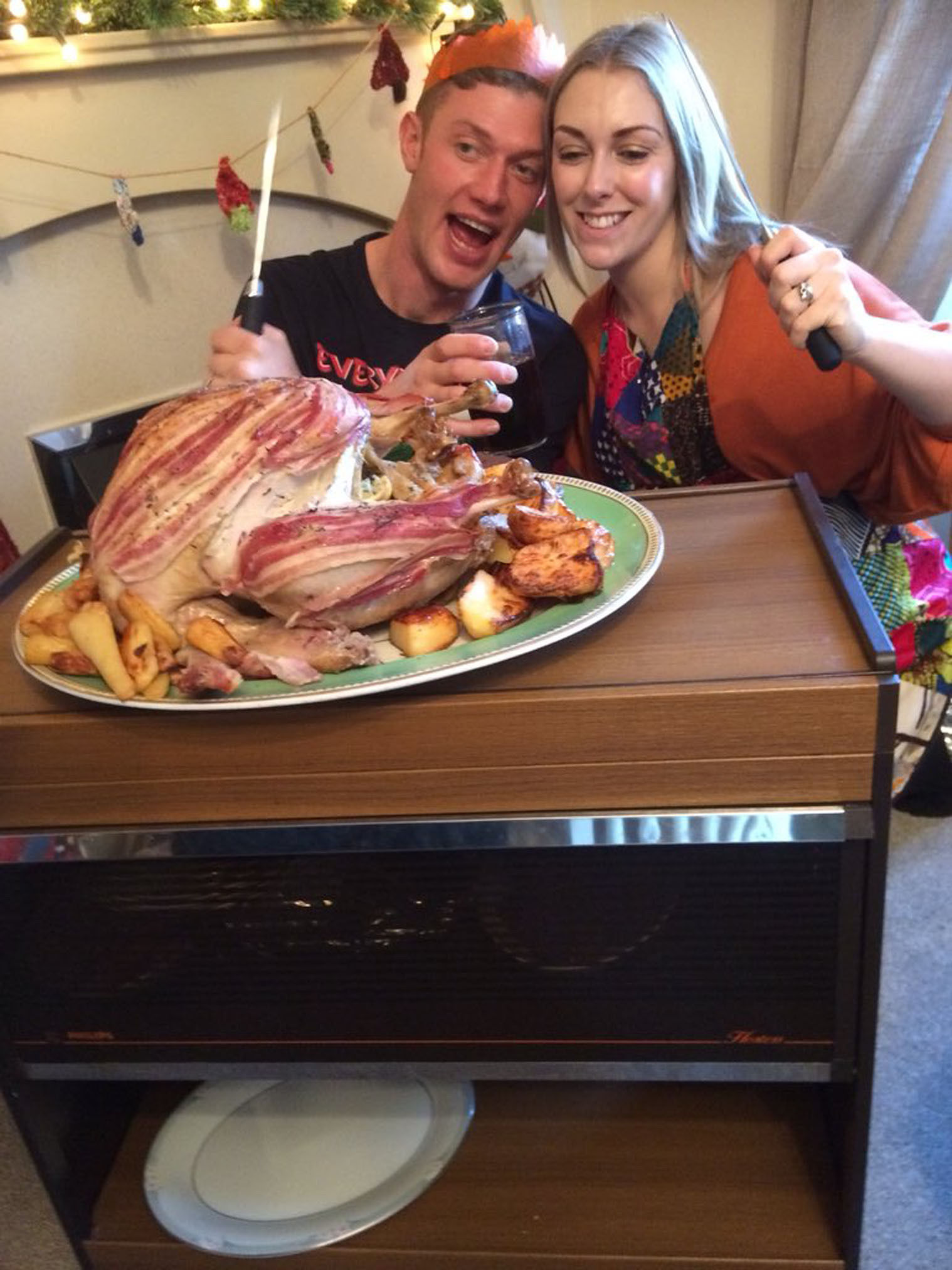 Kirsten Shore and her husband Dan with their Christmas dinner. The events manager from Stafford said she was