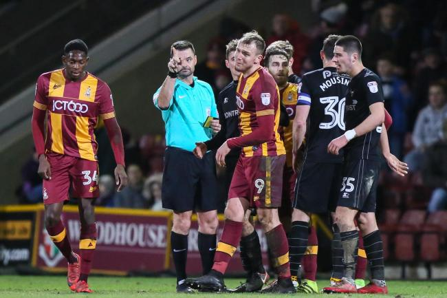 Charlie Wyke is sent off late in City's home win against Oxford – Picture: Thomas Gadd