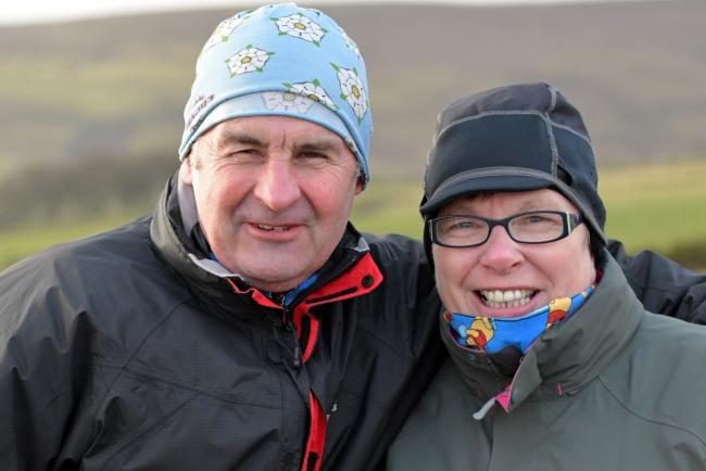 Organisers Dave and Eileen Woodhead at the Auld Lang Syne Fell Race – their last Woodentops event